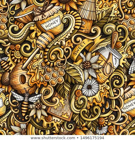 Cartoon cute garabatos miel ilustración dibujado a mano Foto stock © balabolka