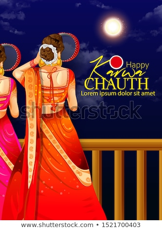 happy karwa chauth festival card with full moon and diya Stock photo © SArts