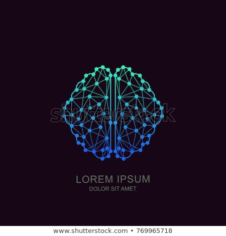 Inteligência artificial linha modelo de design bandeira internet Foto stock © Anna_leni