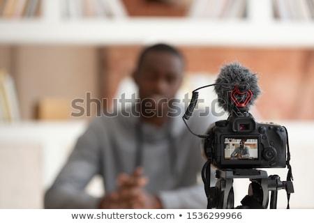 Elöl kilátás üzletember hangszóró beszél üzlet Stock fotó © wavebreak_media
