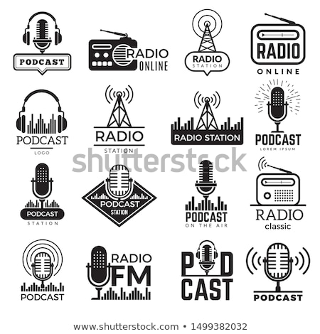 Подкаст радио коллекция вектора тонкий Сток-фото © pikepicture