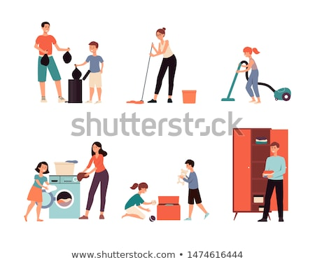 Família feliz lavagem juntos lavanderia quarto pai Foto stock © vkstudio