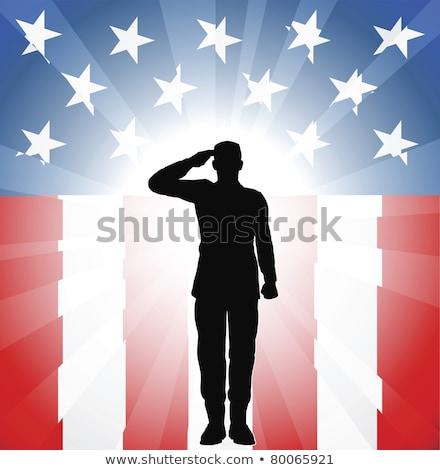 Ordu asker amerikan bayrağı portre erkekler savaş Stok fotoğraf © AndreyPopov