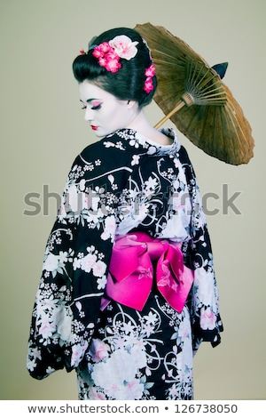 Kép gésa nő hagyományos japán kimonó Stock fotó © deandrobot