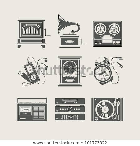 record player icon vector outline illustration Stock photo © pikepicture