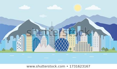 Absztrakt Vancouver sziluett szín üzleti út turizmus Stock fotó © ShustrikS