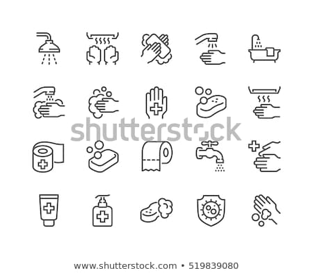 Toilet paper related vector thin line icon. Stock photo © smoki
