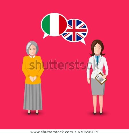 Dwa biały włoski wielka brytania flagi Zdjęcia stock © evgeny89