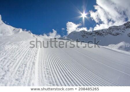 groomed empty ski piste background with snowboards Stock photo © galitskaya