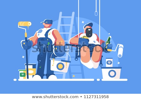 Brigade of painters with buckets and rollers Stock photo © jossdiim