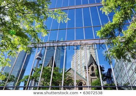 塔 建物 緑 ガラス 空 水平な ストックフォト © bobkeenan