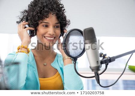 Zwarte podcast geïsoleerd witte internet nieuws Stockfoto © cidepix