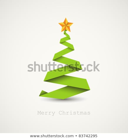 Simple vector christmas tree made from green and white paper Stock photo © orson