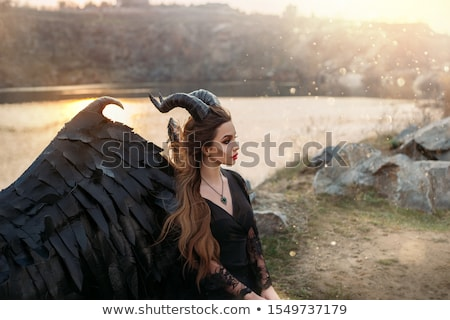 sihir · seksi · karanlık · melek · kız · siyah - stok fotoğraf © dolgachov