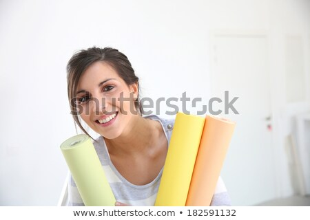 portrait of a woman with wallpaper roll Stock photo © photography33
