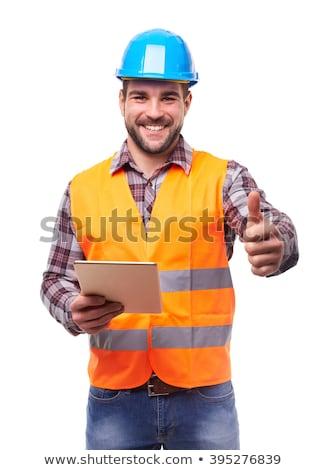 Homme casque réfléchissant gilet mains travaux Photo stock © photography33