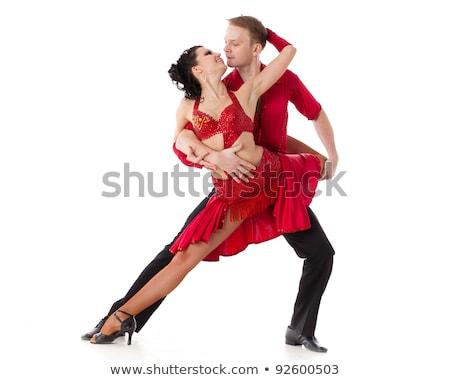 Pary młodych ludzi sala balowa dance odizolowany biały Zdjęcia stock © pzaxe