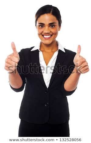 corporate woman gesturing double thumbs up stock photo © stockyimages