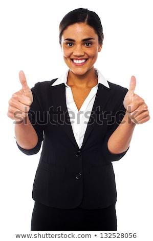 Corporate · Frau · gestikulieren · Double · erfolgreich - stock foto © stockyimages