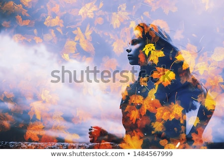 Beautiful Girl Dark Silhouette. Young Woman with Autumn Color Le Stock photo © ESSL