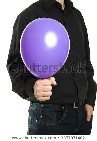 man holding yellow baloonn isolated stock photo © shutswis