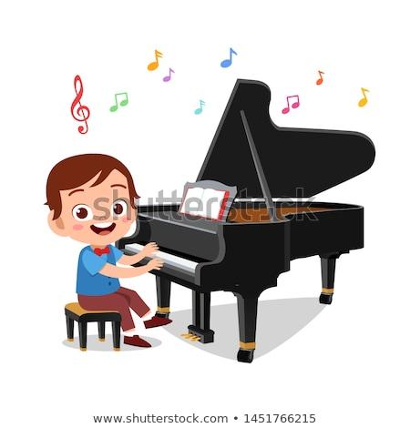 少年 ピアノ 子供 黒 技術 背景 ストックフォト © grafvision