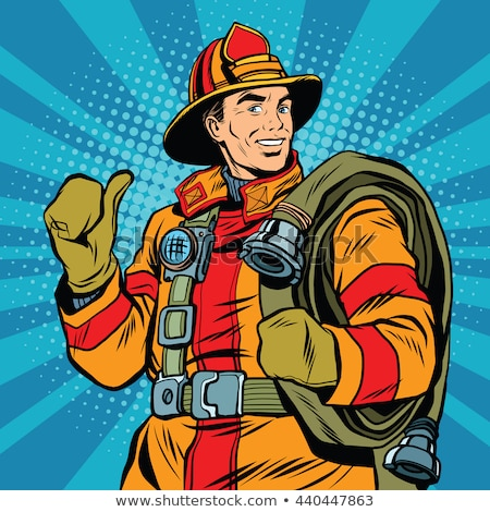 Retro cartoon fireman Stock photo © kariiika