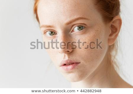 gyömbér · piros · hosszú · portré · piros · ajkak · fehér - stock fotó © juniart