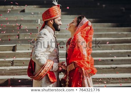 Indiai házasság kép szertartás szett felfelé virág Stock fotó © gregory21