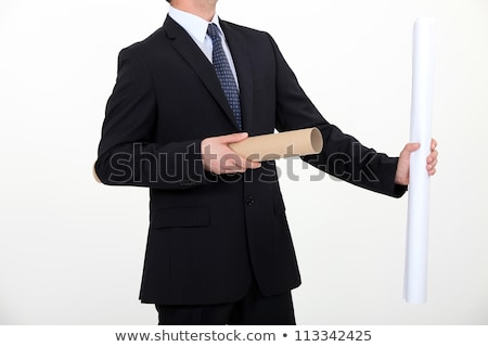 Businessman taking a rolled up plan out of its case Stock photo © photography33