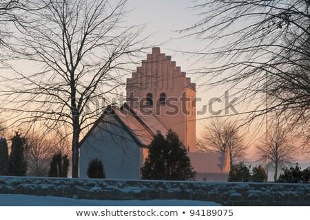 Photo stock: église · hiver · neige · Danemark · blanche · lieu
