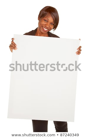 Business lady displaying blank white ad board Stock photo © stockyimages