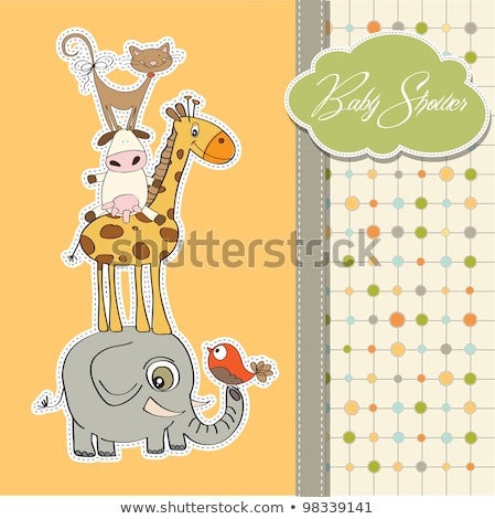 Stock photo: baby shower card with funny pyramid of animals