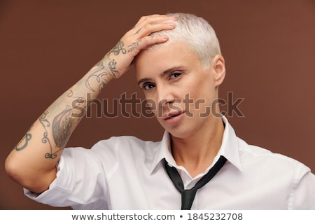 casual man looks up at you pensively Stock photo © feedough