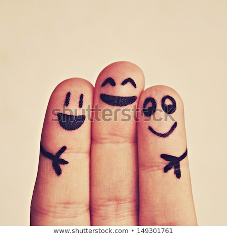 painted hands with smiling fingers Stock photo © Nelosa