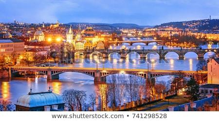 Prag · kale · gece · görmek · yansıma · nehir - stok fotoğraf © elxeneize