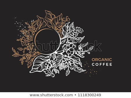 black coffee cup with golden lines stock photo © akhilesh