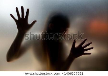 Korkmuş kadın arkasında cam kanlı korkutucu Stok fotoğraf © Andersonrise