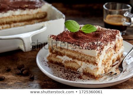 Tiramisu Italiaans dessert witte plaat koffie Stockfoto © Koufax73