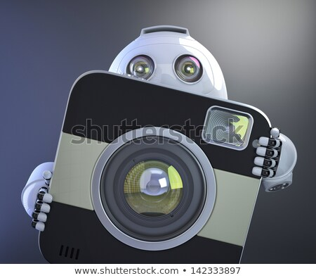 Stock photo: Android Robot Holding Squared Photo Camera