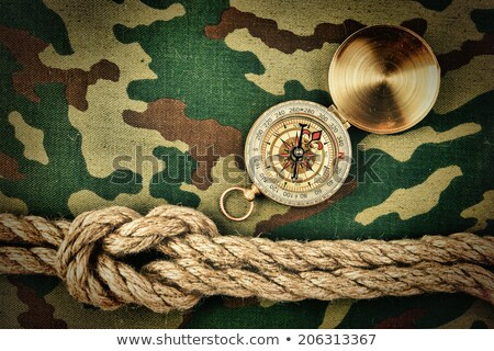 Compass and rope on a camouflage background Stock photo © inxti