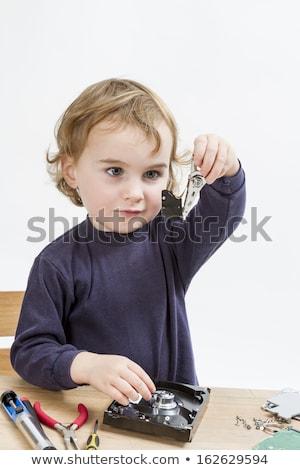 Gyermek javít merevlemez vezetés fiatal nyitva Stock fotó © gewoldi