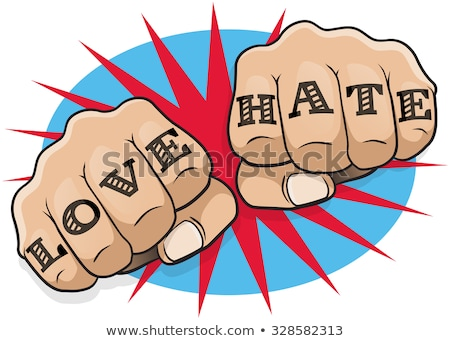Love and hate tattooes, hands clenched in fist Stock photo © stevanovicigor