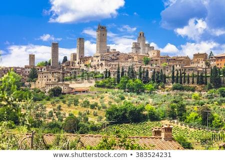 Toskana ortaçağ kasaba İtalya Bina mavi Stok fotoğraf © alessandro0770