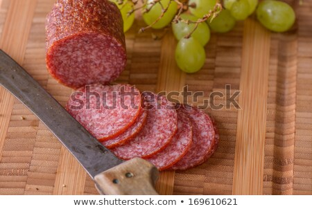 Salami couteau raisins côté alimentaire Photo stock © phila54