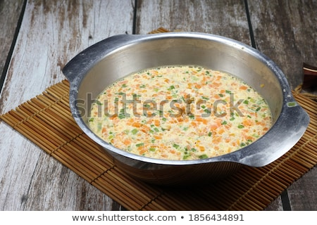 Stock photo: Boiled chicken eggs and fresh spring onion for breakfast