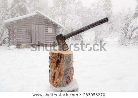 Leragasztott fa hó tél fém szerszám Stock fotó © CandyboxPhoto