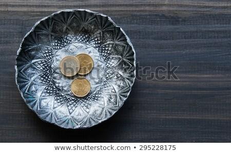 Fém csészealj nyugta érmék tányér pénz Stock fotó © Nejron