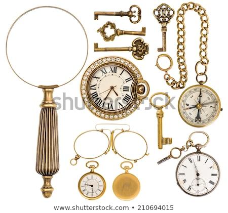 レトロな · 青銅 · ドアの鍵 · 孤立した · 白 · 古い - ストックフォト © manera