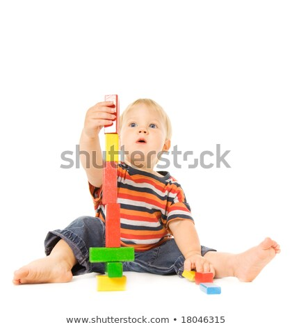 beautiful young child playing intellectual game isolated on whi stock photo © nejron